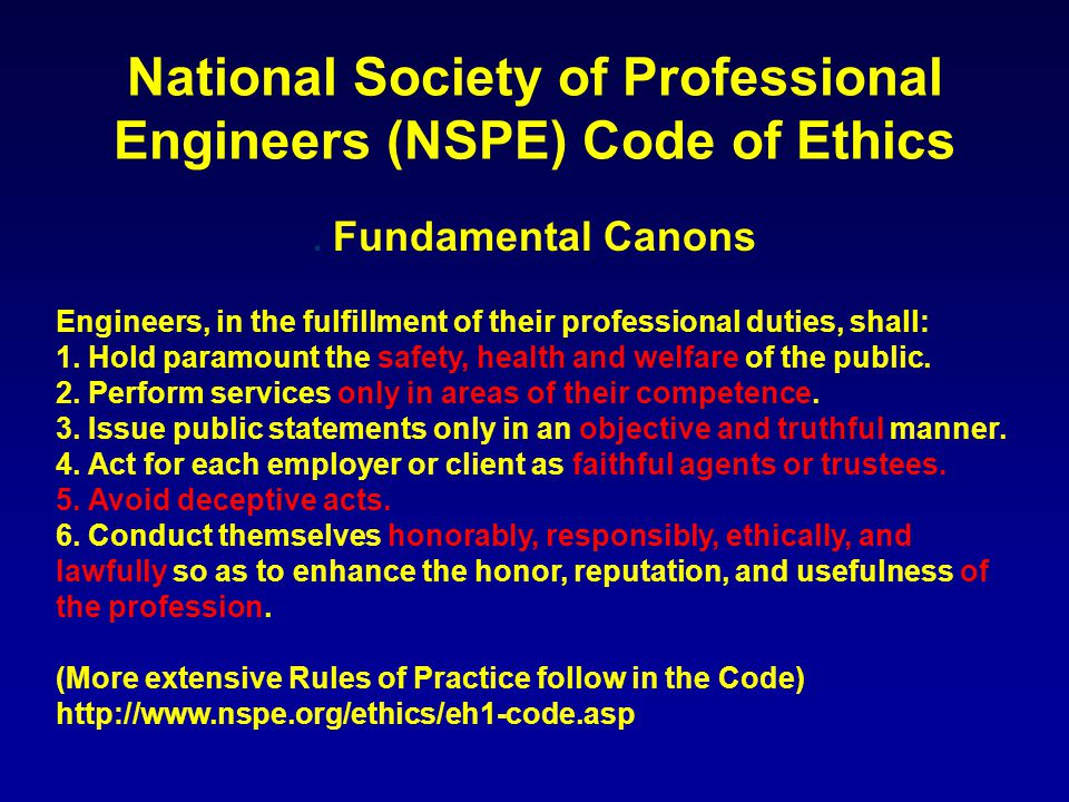 National Society of Professional Engineers (NSPE) Code of Ethics.