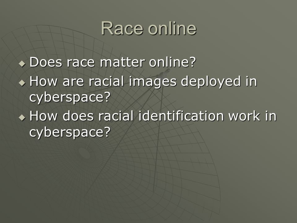 Race online  Does race matter online.  How are racial images deployed in cyberspace.