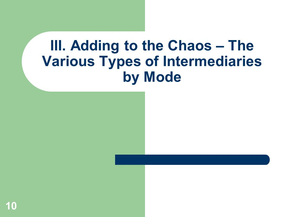 10 III. Adding to the Chaos – The Various Types of Intermediaries by Mode