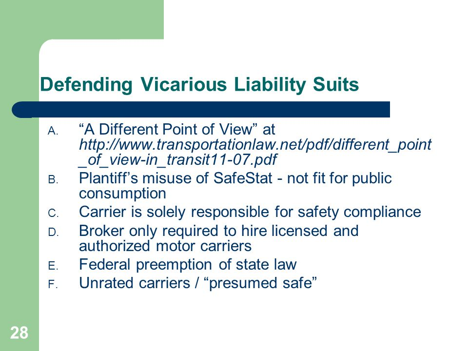 28 Defending Vicarious Liability Suits A.