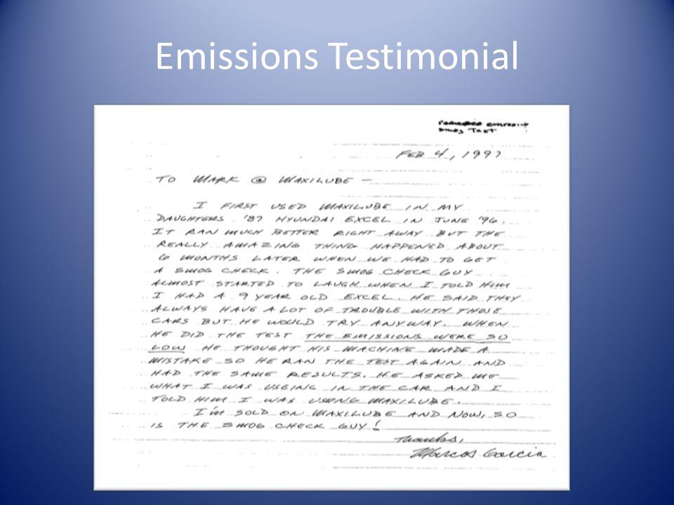 Emissions Testimonial