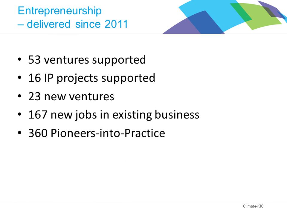 Climate-KIC 53 ventures supported 16 IP projects supported 23 new ventures 167 new jobs in existing business 360 Pioneers-into-Practice Entrepreneurship – delivered since 2011