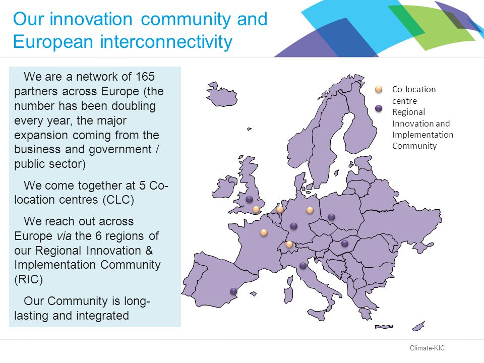 Climate-KIC Our innovation community and European interconnectivity We are a network of 165 partners across Europe (the number has been doubling every