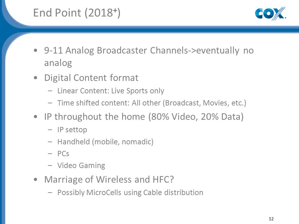 End Point (2018 + ) 9-11 Analog Broadcaster Channels->eventually no analog Digital Content format –Linear Content: Live Sports only –Time shifted content: All other (Broadcast, Movies, etc.) IP throughout the home (80% Video, 20% Data) –IP settop –Handheld (mobile, nomadic) –PCs –Video Gaming Marriage of Wireless and HFC.