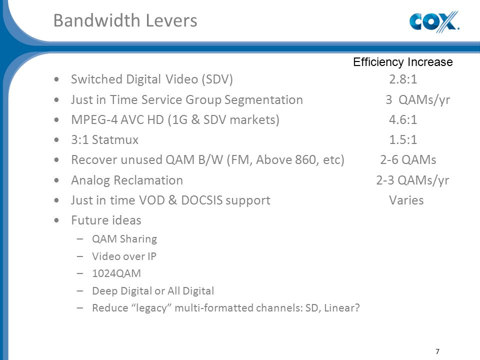 Bandwidth Levers Switched Digital Video (SDV)2.8:1 Just in Time Service Group Segmentation 3 QAMs/yr MPEG-4 AVC HD (1G & SDV markets) 4.6:1 3:1 Statmux1.5:1 Recover unused QAM B/W (FM, Above 860, etc) 2-6 QAMs Analog Reclamation 2-3 QAMs/yr Just in time VOD & DOCSIS supportVaries Future ideas –QAM Sharing –Video over IP –1024QAM –Deep Digital or All Digital –Reduce legacy multi-formatted channels: SD, Linear.