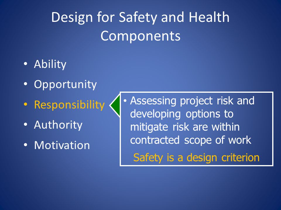 Design for Safety and Health Components Ability Opportunity Responsibility Authority Motivation Assessing project risk and developing options to mitigate risk are within contracted scope of work Safety is a design criterion