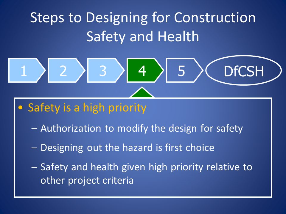 12345 DfCSH Steps to Designing for Construction Safety and Health Safety is a high priority –Authorization to modify the design for safety –Designing out the hazard is first choice –Safety and health given high priority relative to other project criteria