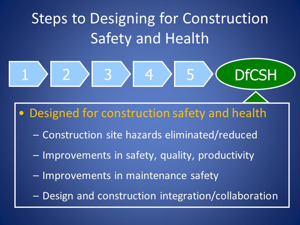 12345 DfCSH Steps to Designing for Construction Safety and Health Designed for construction safety and health –Construction site hazards eliminated/reduced –Improvements in safety, quality, productivity –Improvements in maintenance safety –Design and construction integration/collaboration