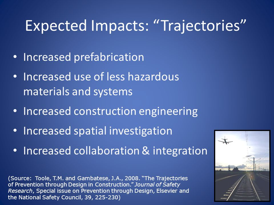 Expected Impacts: Trajectories Increased prefabrication Increased use of less hazardous materials and systems Increased construction engineering Increased spatial investigation Increased collaboration & integration (Source: Toole, T.M.
