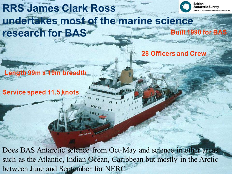 RRS James Clark Ross undertakes most of the marine science research for BAS Length 99m x 19m breadth Built 1990 for BAS 28 Officers and Crew Service speed 11.5 knots Does BAS Antarctic science from Oct-May and science in other areas such as the Atlantic, Indian Ocean, Caribbean but mostly in the Arctic between June and September for NERC