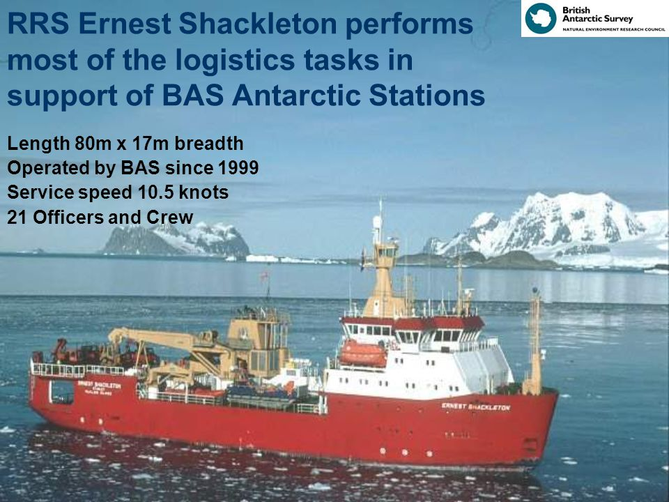 HMS Endurance Is a Royal Navy ship - not a BAS ship 120 Officers and crew Helicopters Carries 2 x Navy Lynx Antarctic/sub-Antarctic Role UK Presence Hydrographic Survey Support to BAS Science, mainly by supporting shore parties with boats and helicopters and assisting with BAS logistics