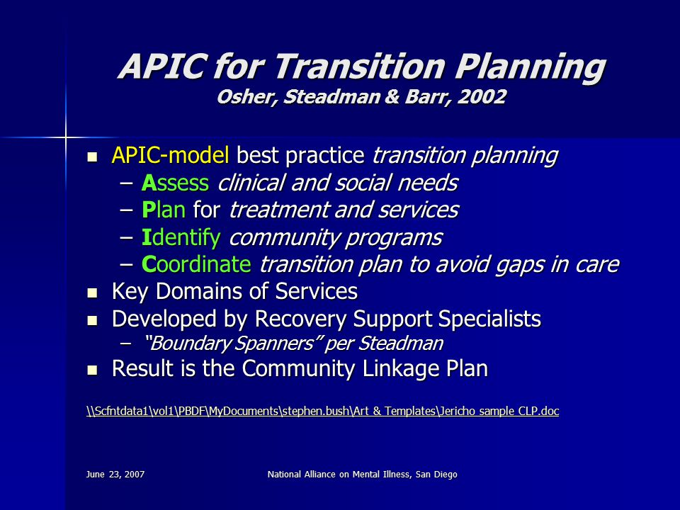June 23, 2007National Alliance on Mental Illness, San Diego APIC for Transition Planning Osher, Steadman & Barr, 2002 APIC-model best practice transit