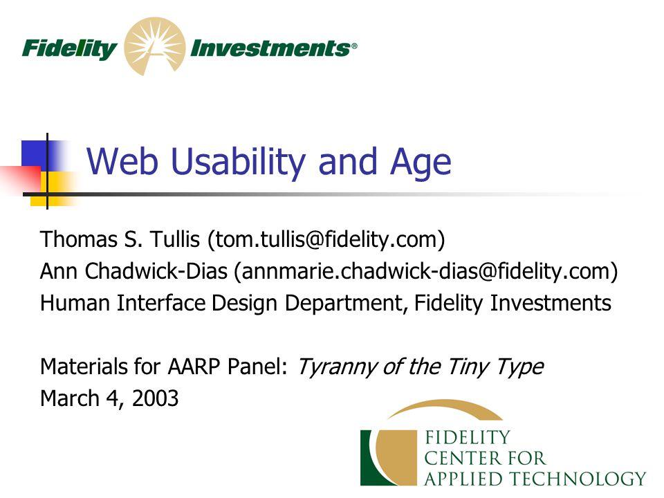 1 Web Usability and Age Thomas S.