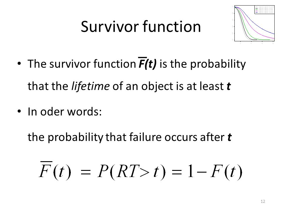 Survivor function The survivor function F(t) is the probability that the lifetime of an object is at least t In oder words: the probability that failu