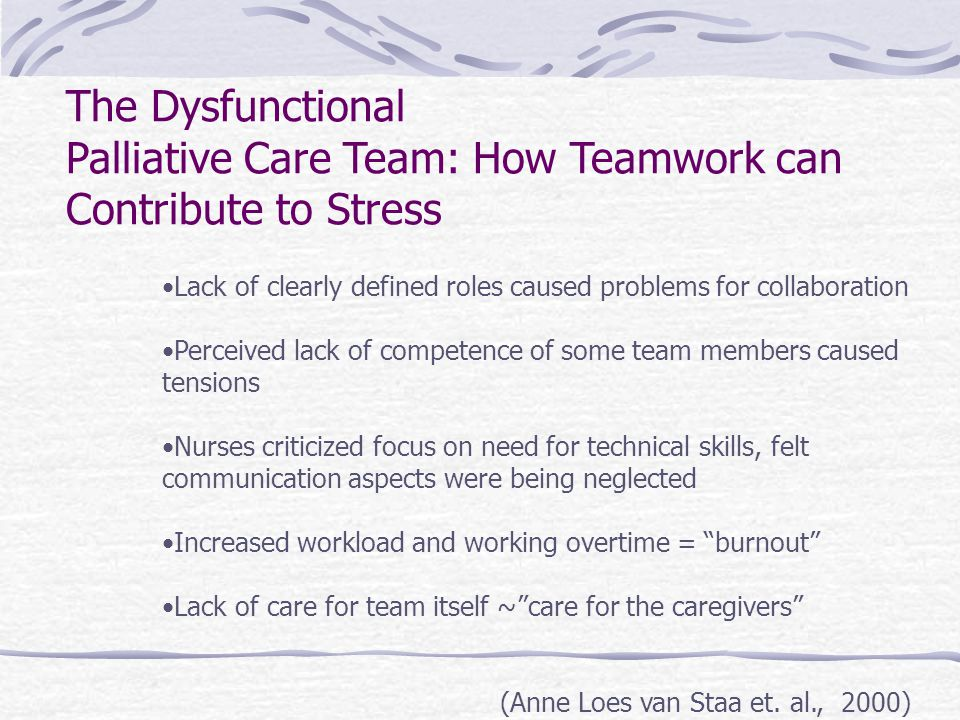 The Dysfunctional Palliative Care Team: How Teamwork can Contribute to Stress Lack of clearly defined roles caused problems for collaboration Perceived lack of competence of some team members caused tensions Nurses criticized focus on need for technical skills, felt communication aspects were being neglected Increased workload and working overtime = burnout Lack of care for team itself ~ care for the caregivers (Anne Loes van Staa et.