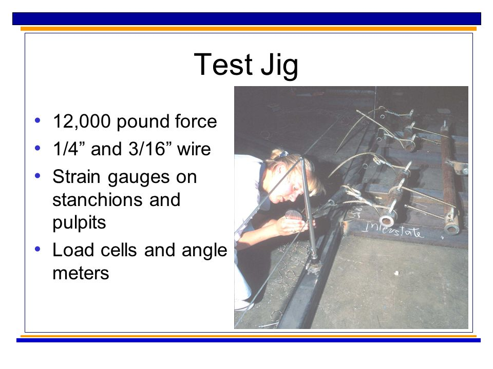 Test Jig 12,000 pound force 1/4 and 3/16 wire Strain gauges on stanchions and pulpits Load cells and angle meters