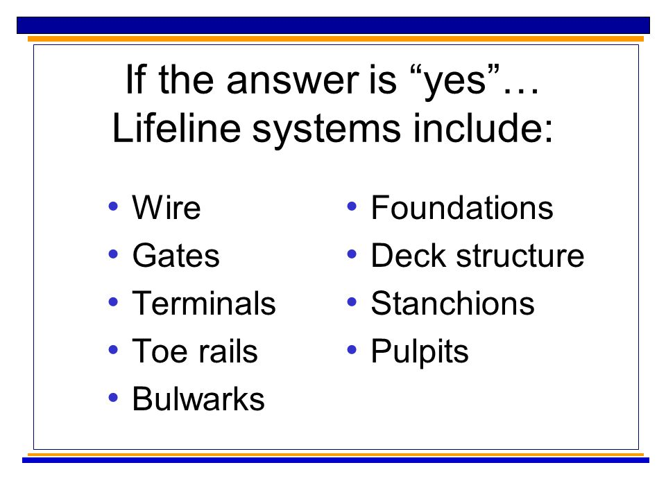 If the answer is yes … Lifeline systems include: Wire Gates Terminals Toe rails Bulwarks Foundations Deck structure Stanchions Pulpits