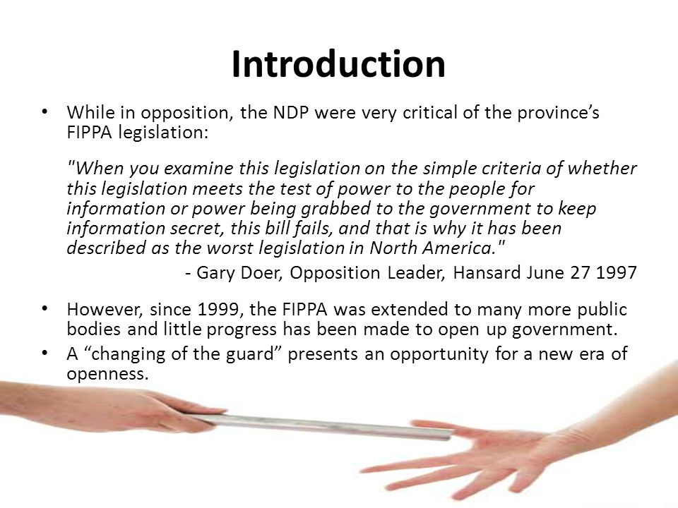 Recommendations from 2000 Our organizations met with Minister McGifford in 2000 and recommended the following changes: Section 13 - Repetitive or abusive requests (repeal of entire section) Section 18 - Business interests of third parties (a general public interest override) Section 19 - Cabinet confidences (release with Cabinet consent or more that 10 years old) Section 22 - Local public body confidences (disclose in 10 years) Section 23 - Advice to a public body (limit scope of the exemption and disclose in 10 years) Section 34.1 - Public interest paramount (information must be disclosed if it is in the public interest) Sections 49.1 to 49.7 - Information and Privacy Commissioner Unfortunately, they have yet to be implemented.