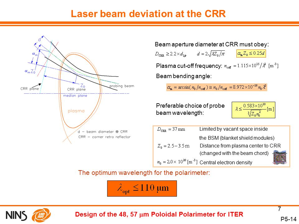 7 P5-14 Design of the 48, 57  m Poloidal Polarimeter for ITER Beam aperture diameter at CRR must obey : Limited by vacant space inside the BSM (blanket shield modules) Plasma cut-off frequency: Beam bending angle: Distance from plasma center to CRR (changed with the beam chord) Laser beam deviation at the CRR Central electron density Preferable choice of probe beam wavelength: The optimum wavelength for the polarimeter: