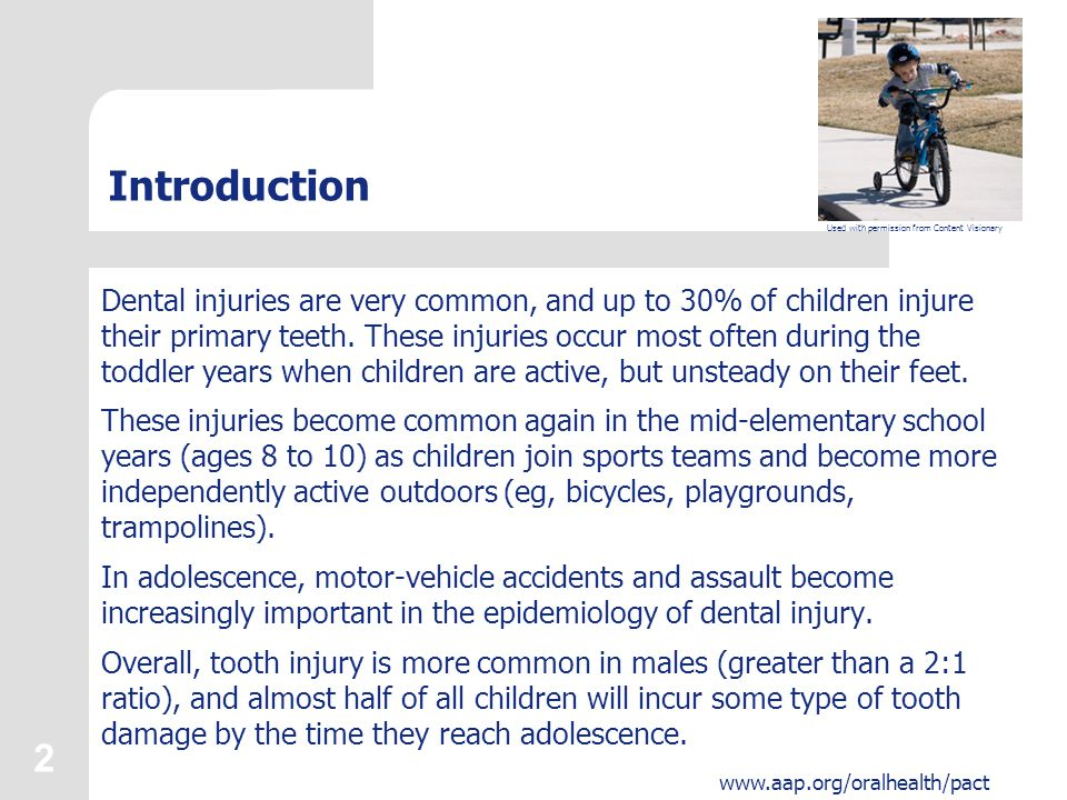 3 Learner Objectives Upon completion of this presentation, participants will be able to: Describe the incidence and epidemiology of dental injury in the United States.