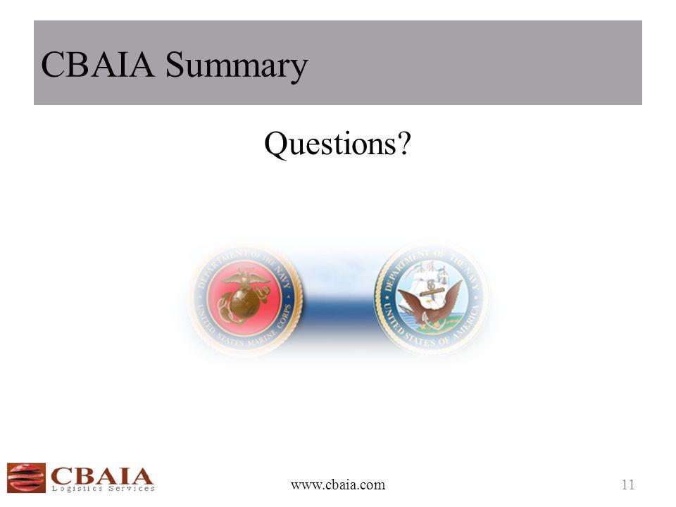 CBAIA Summary Questions? www.cbaia.com11