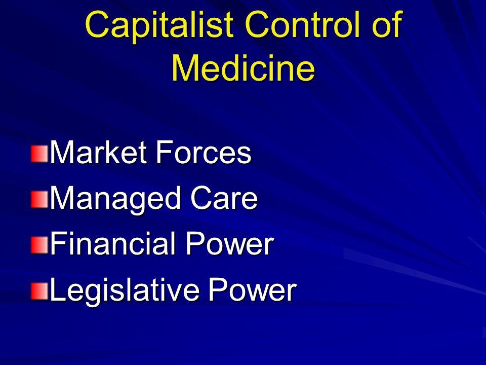 Capitalist Control of Medicine Market Forces Managed Care Financial Power Legislative Power
