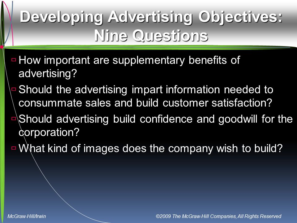 McGraw-Hill/Irwin ©2009 The McGraw-Hill Companies, All Rights Reserved Developing Advertising Objectives: Nine Questions  How important are supplemen