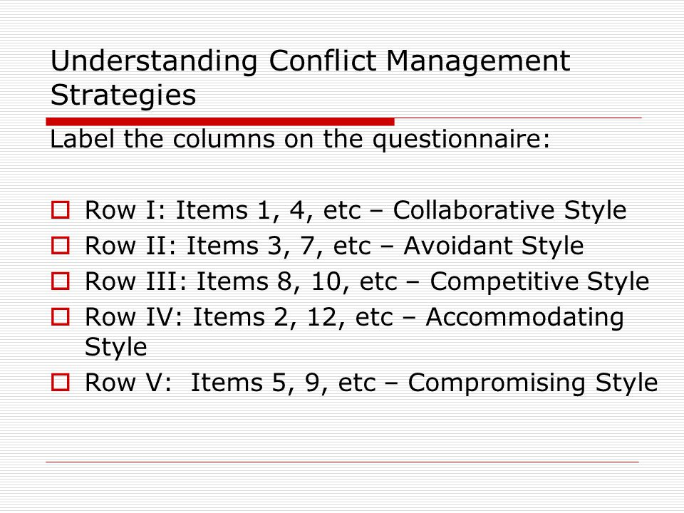 Planning for Integrative Conflict Management  What is the primary issue.
