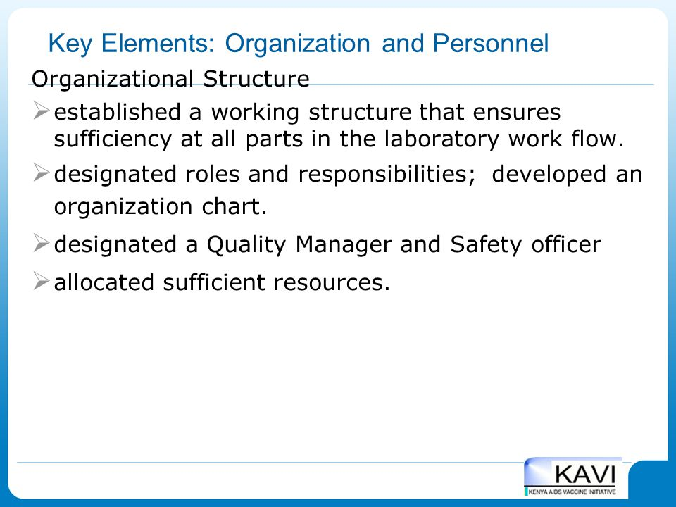 Key Elements: Organization and Personnel Organizational Structure  established a working structure that ensures sufficiency at all parts in the labor