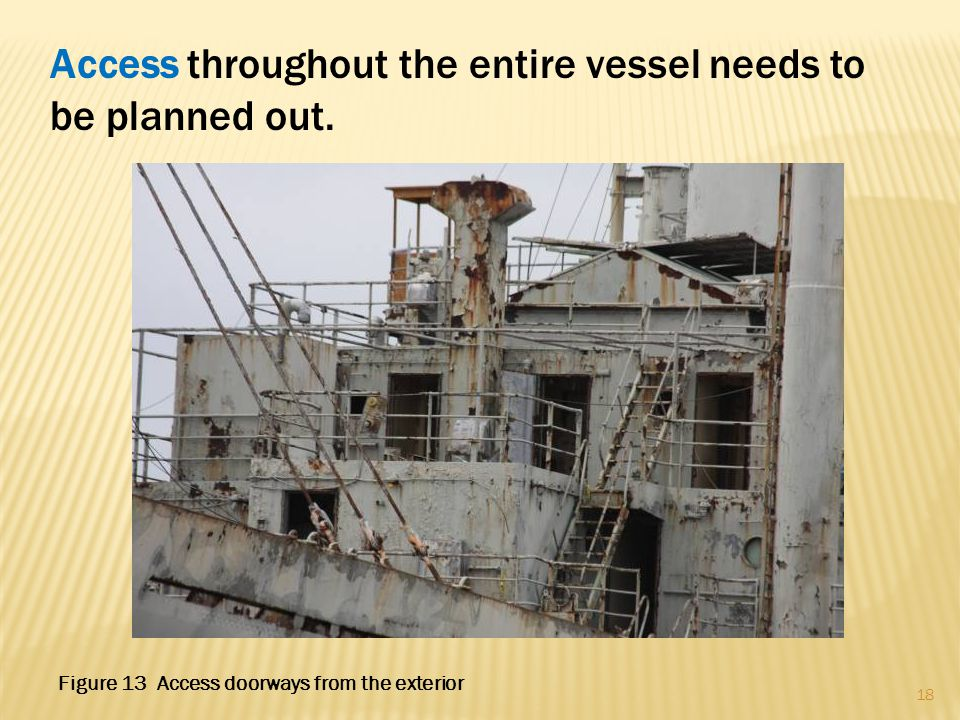 Access throughout the entire vessel needs to be planned out. 18 Figure 13 Access doorways from the exterior