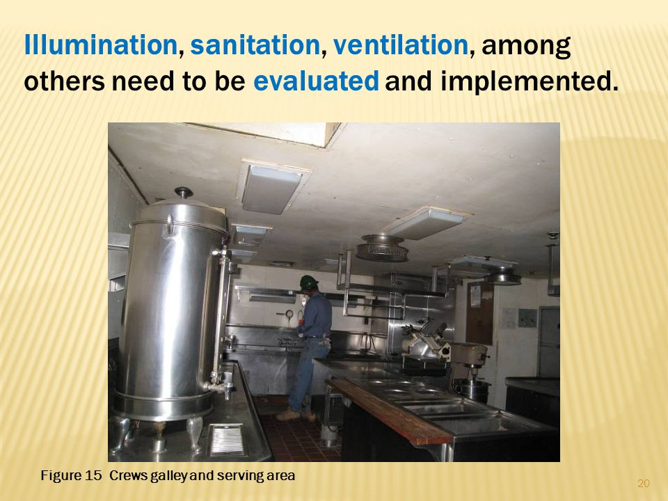 Illumination, sanitation, ventilation, among others need to be evaluated and implemented. 20 Figure 15 Crews galley and serving area