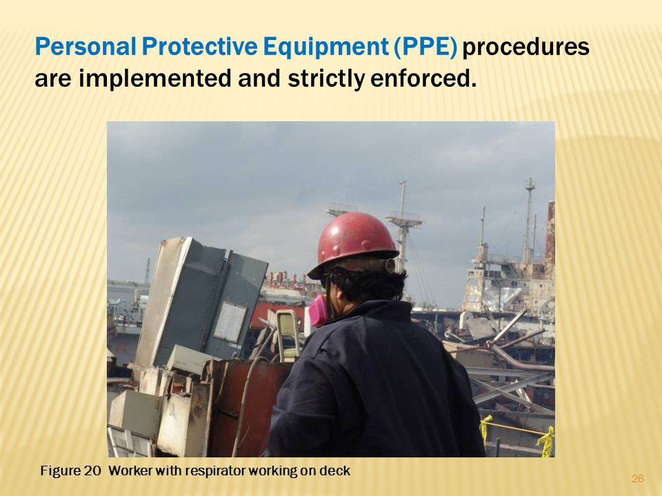Personal Protective Equipment (PPE) procedures are implemented and strictly enforced. 26 Figure 20 Worker with respirator working on deck
