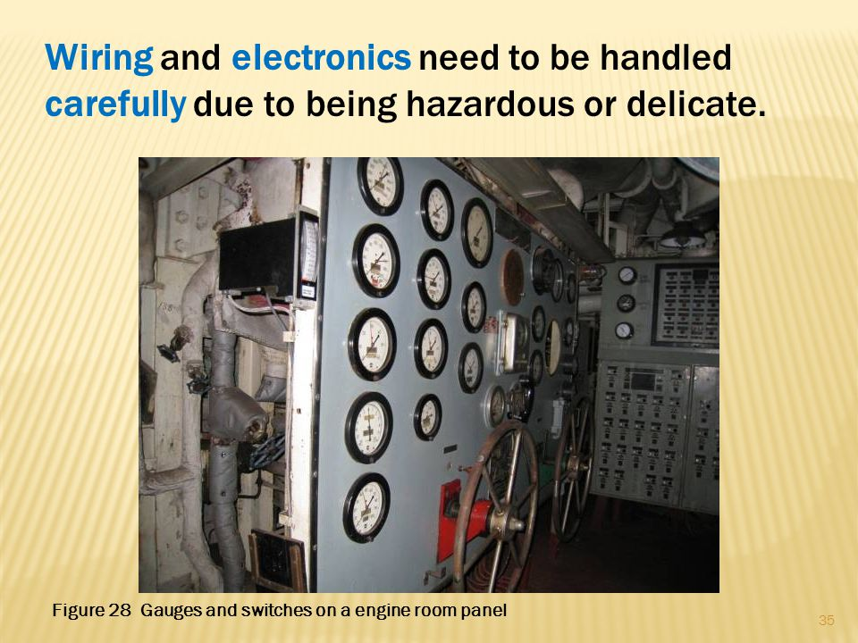 Wiring and electronics need to be handled carefully due to being hazardous or delicate. 35 Figure 28 Gauges and switches on a engine room panel