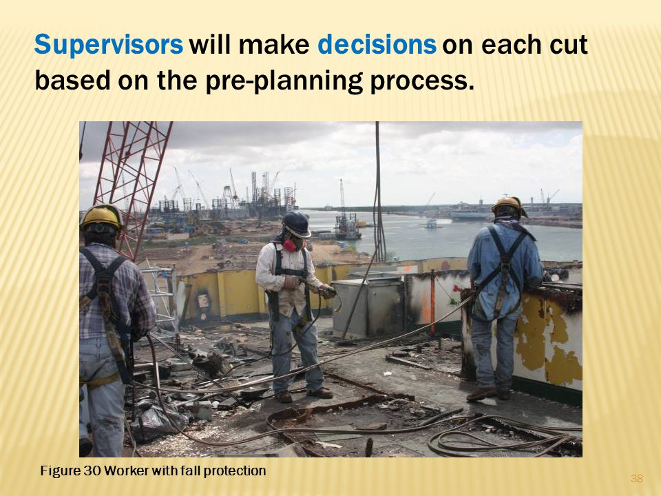 Supervisors will make decisions on each cut based on the pre-planning process. 38 Figure 30 Worker with fall protection