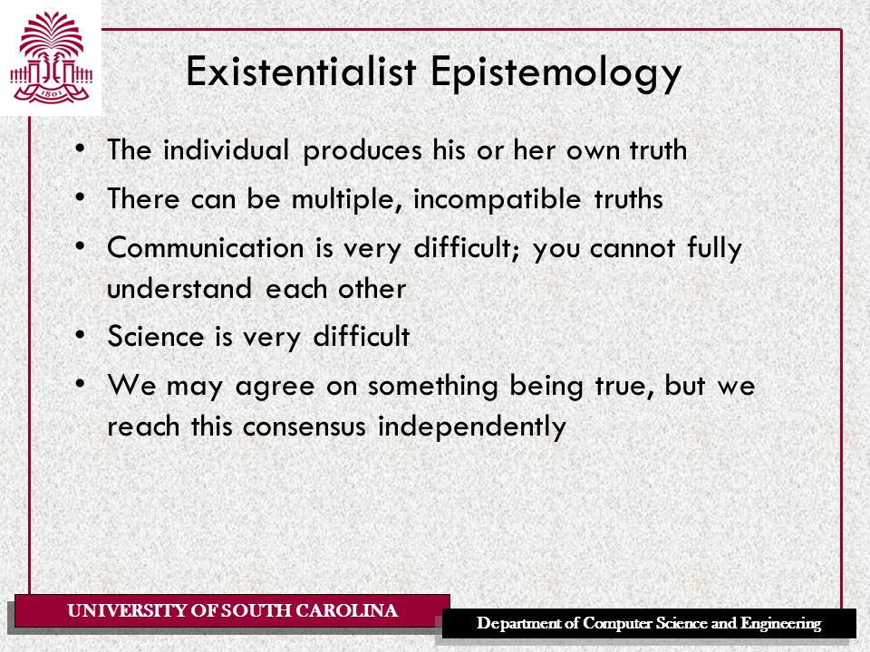 UNIVERSITY OF SOUTH CAROLINA Department of Computer Science and Engineering Existentialist Ethics The individual must create his or her own value One cannot escape the need to decide The individual is fully responsible for his or her choices Individual choice and responsibility are paramount Existentialism is tough.