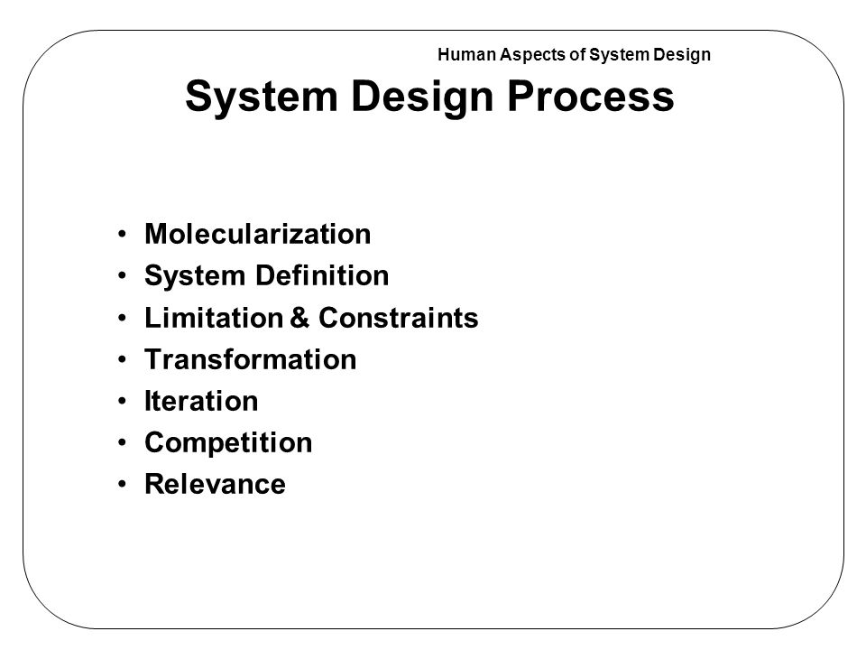 Human Aspects of System Design Molecularization OVERALL TASK Sub - Task A Characteristics of a System Design Process Sub - Task CSub - Task B