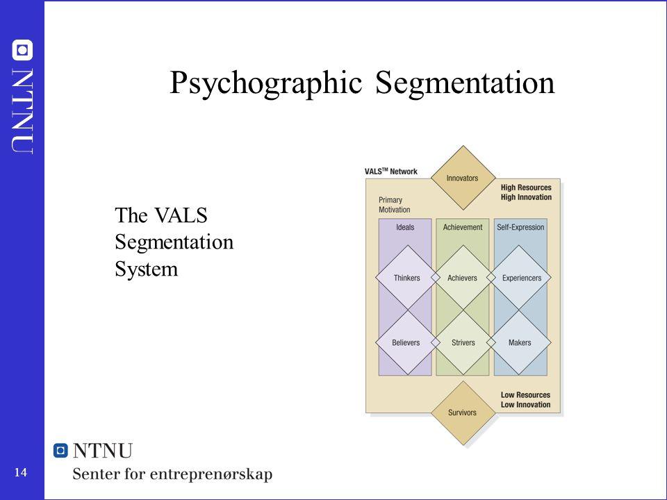 14 Psychographic Segmentation The VALS Segmentation System