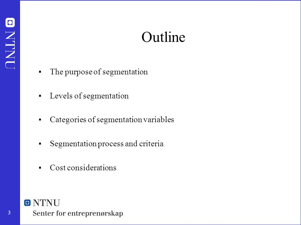 3 Outline The purpose of segmentation Levels of segmentation Categories of segmentation variables Segmentation process and criteria Cost consideration