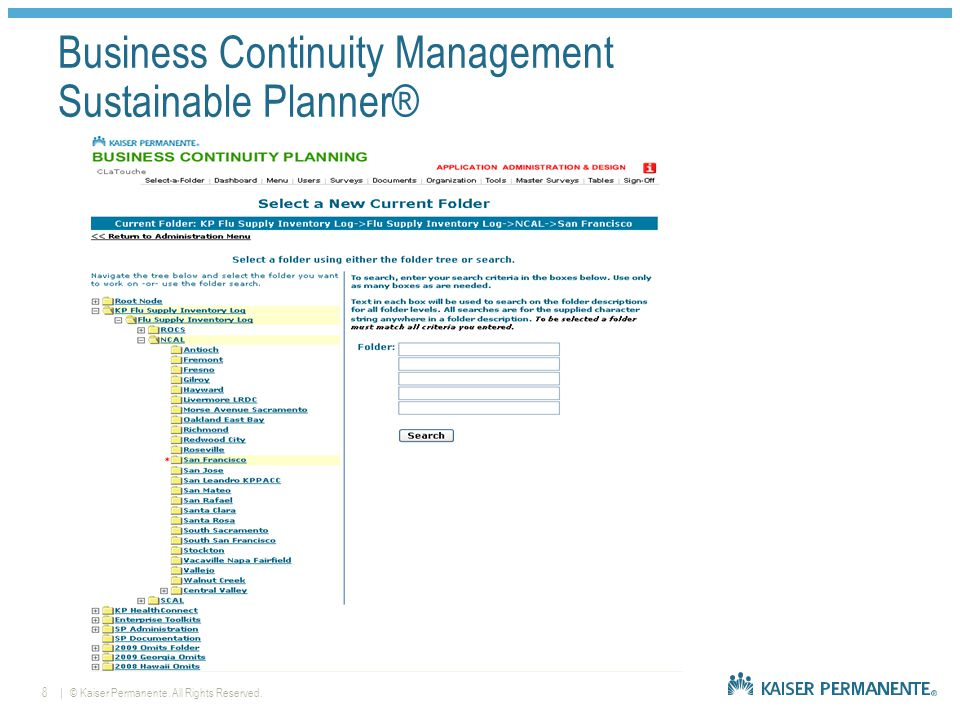   © Kaiser Permanente. All Rights Reserved.9 Business Continuity Management Maturity Level