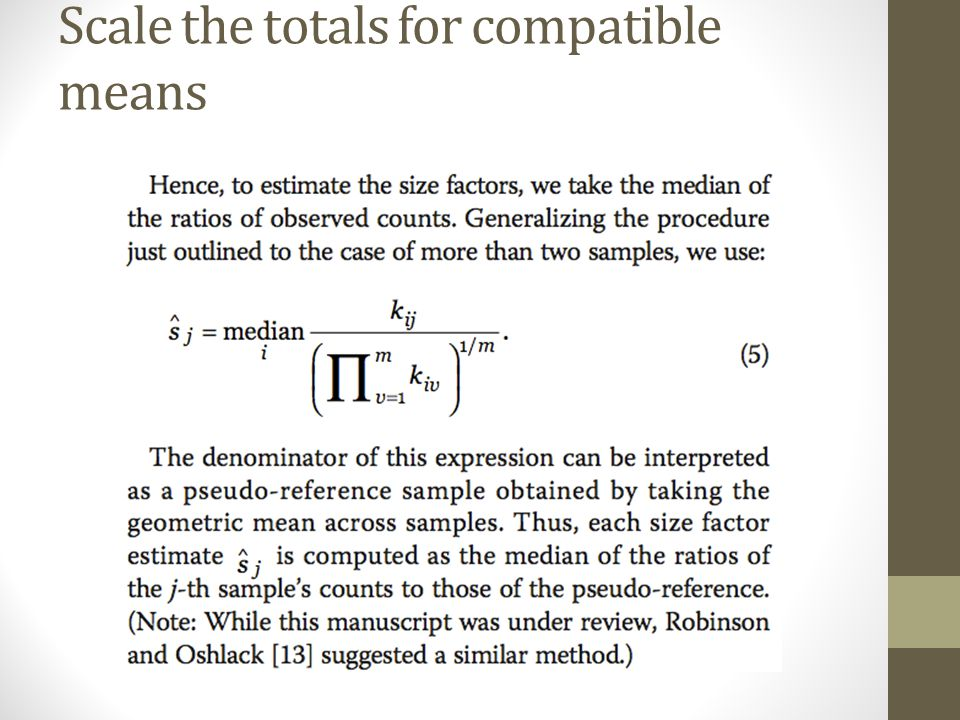 Scale the totals for compatible means