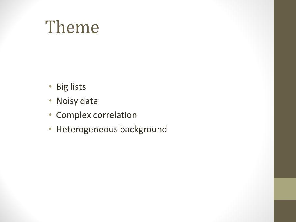 Theme Big lists Noisy data Complex correlation Heterogeneous background