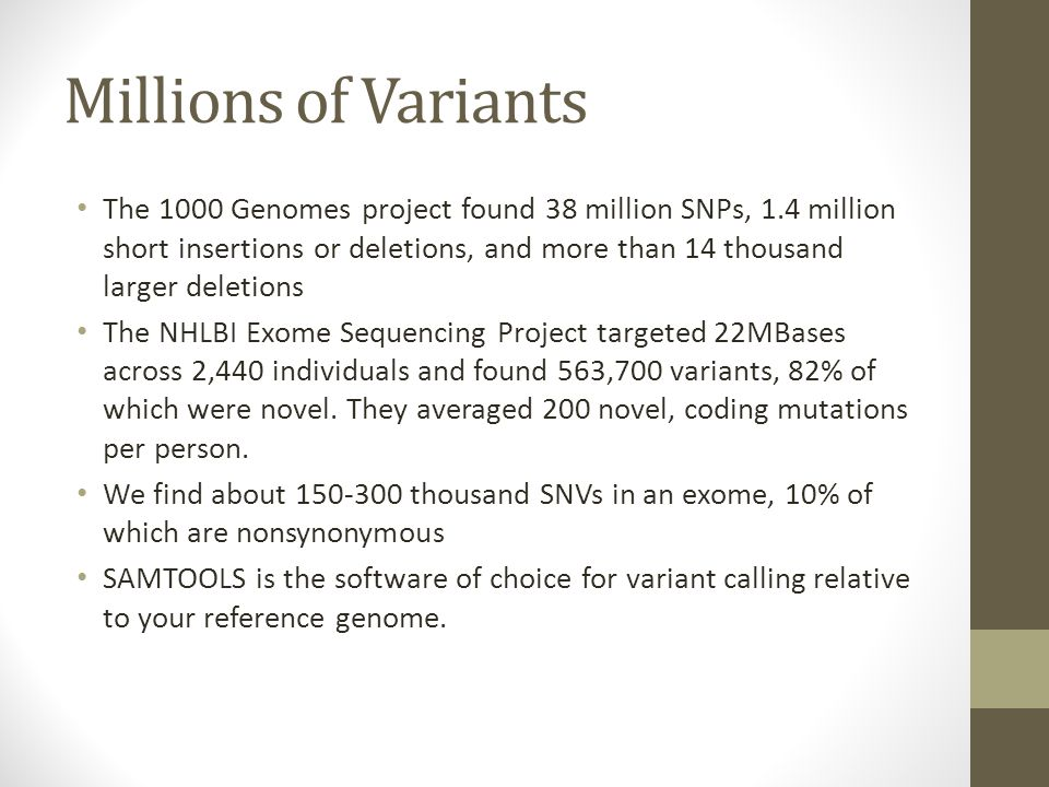 Millions of Variants The 1000 Genomes project found 38 million SNPs, 1.4 million short insertions or deletions, and more than 14 thousand larger delet