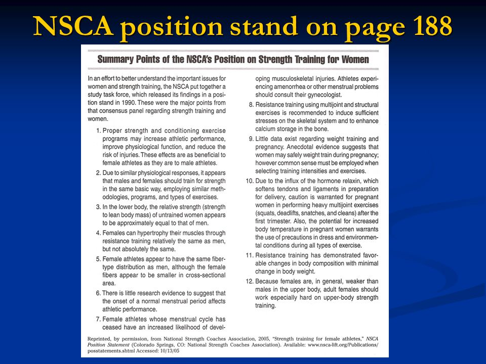 NSCA position stand on page 188