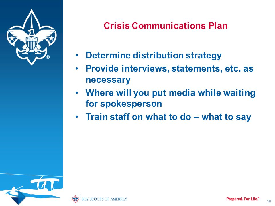 Crisis Communications Plan Determine distribution strategy Provide interviews, statements, etc. as necessary Where will you put media while waiting fo