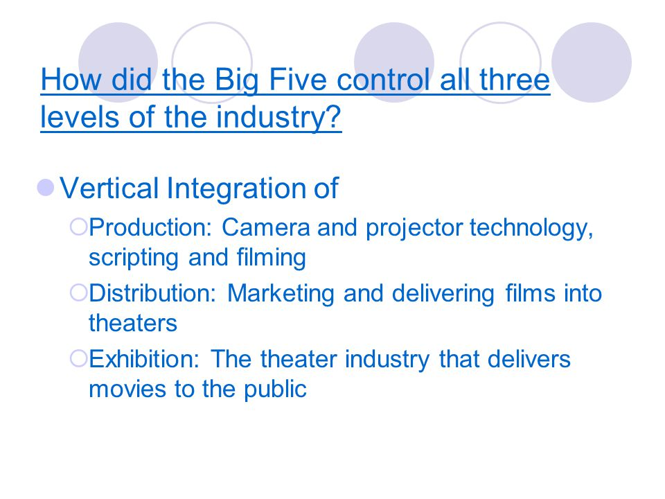 How did the Big Five control all three levels of the industry.