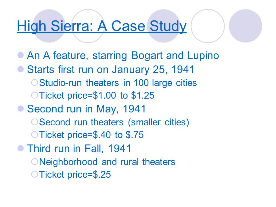 High Sierra: A Case Study An A feature, starring Bogart and Lupino Starts first run on January 25, 1941  Studio-run theaters in 100 large cities  Ticket price=$1.00 to $1.25 Second run in May, 1941  Second run theaters (smaller cities)  Ticket price=$.40 to $.75 Third run in Fall, 1941  Neighborhood and rural theaters  Ticket price=$.25