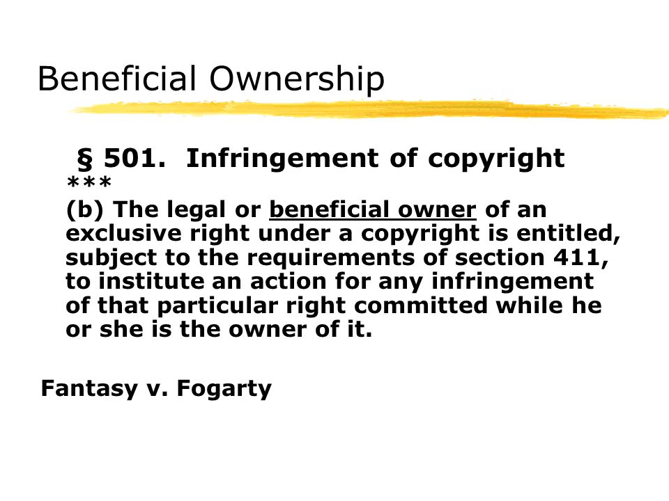 Beneficial Ownership § 501.