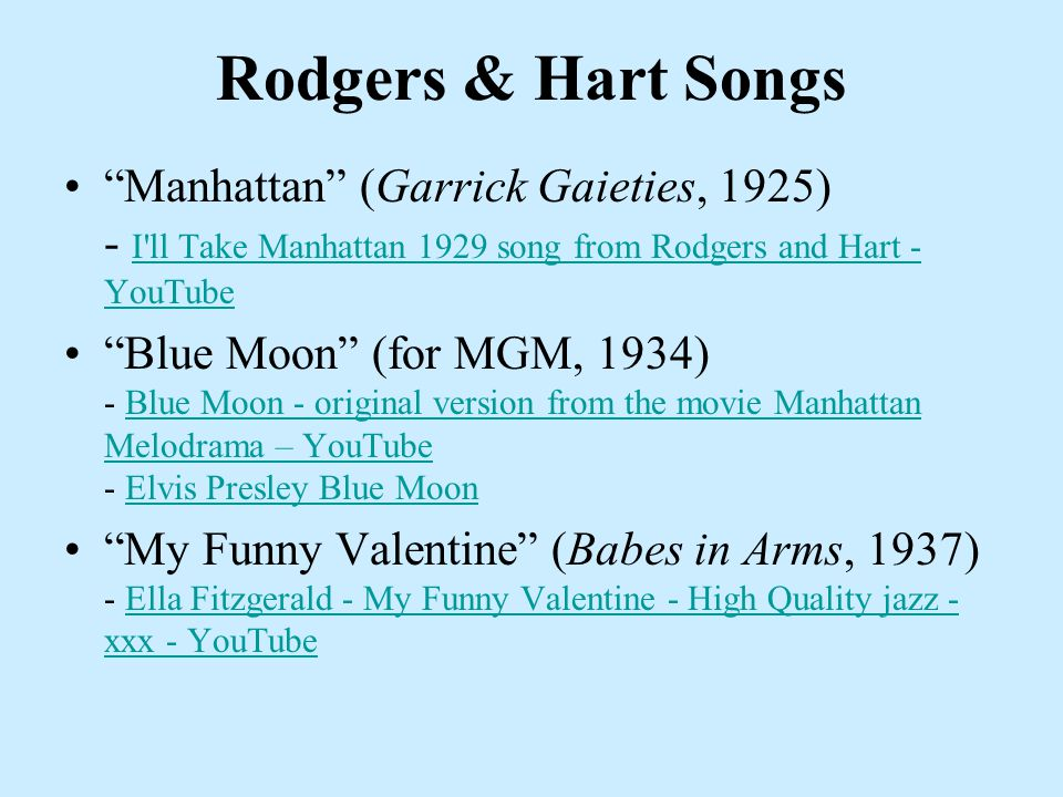 "Rodgers & Hart Songs ""Manhattan"" (Garrick Gaieties, 1925) - I'll Take Manhattan 1929 song from Rodgers and Hart - YouTube I'll Take Manhattan 1929 son"