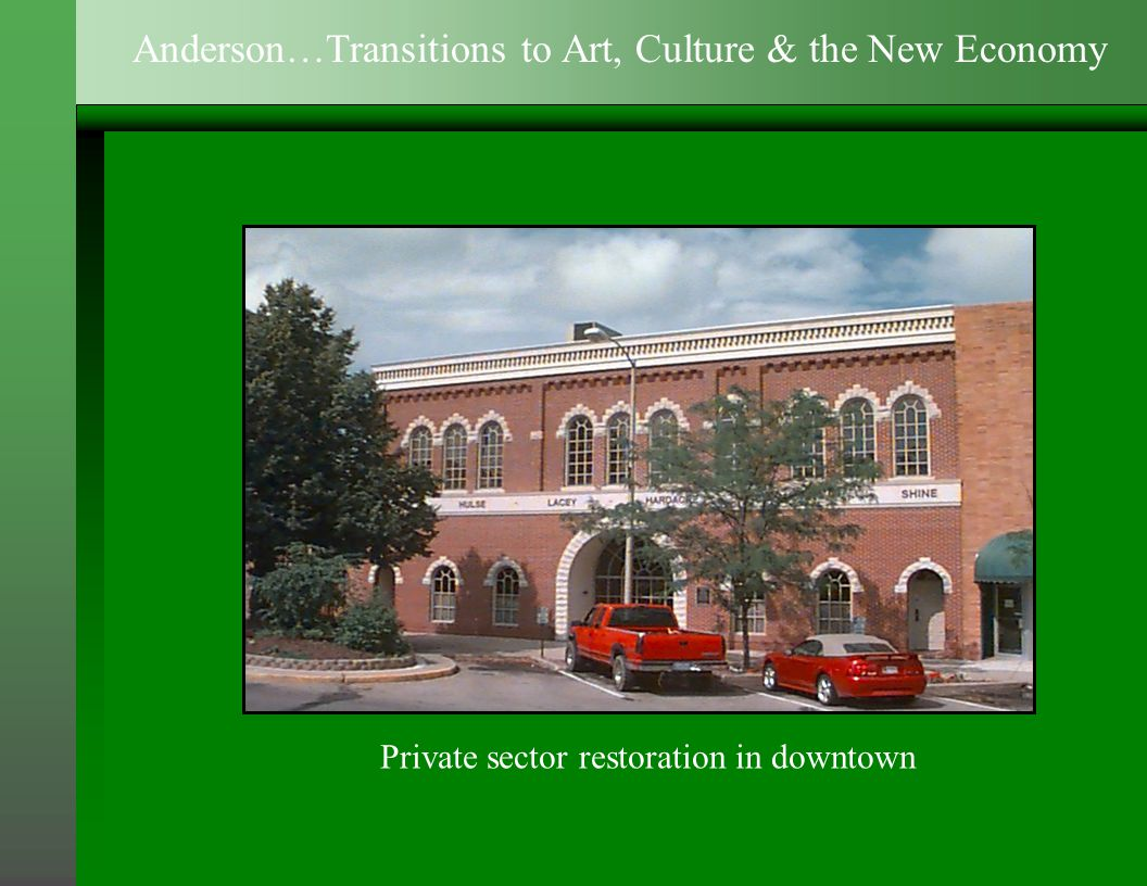 Private sector restoration in downtown Anderson…Transitions to Art, Culture & the New Economy