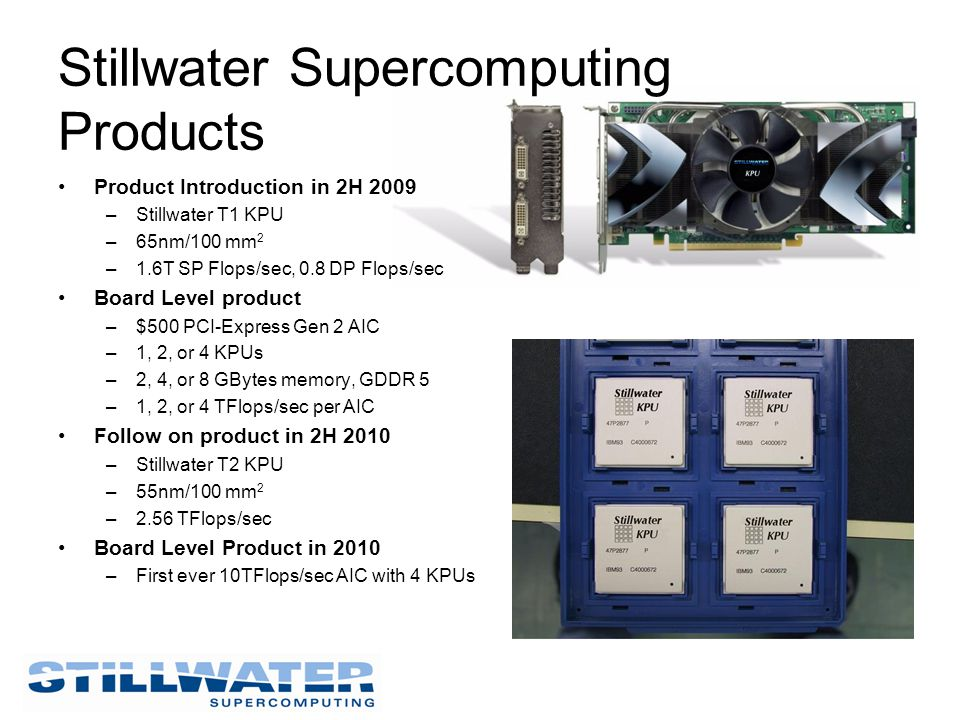 Product Introduction in 2H 2009 –Stillwater T1 KPU –65nm/100 mm 2 –1.6T SP Flops/sec, 0.8 DP Flops/sec Board Level product –$500 PCI-Express Gen 2 AIC